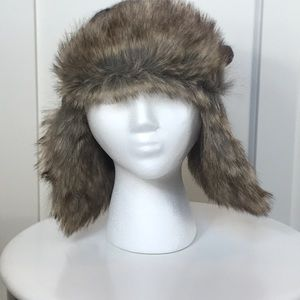 Free People faux fur hand knitted ear flap hat